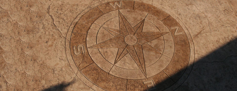 stamped concrete compass